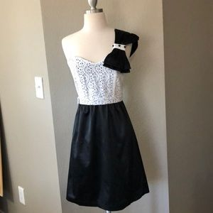 Black & white lace cocktail dress by Judith March